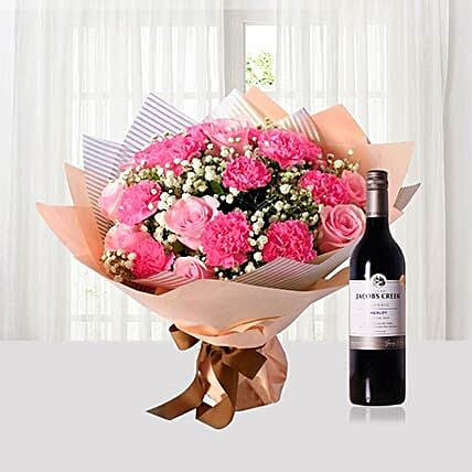 Pink Flowers Bouquet N Wine Combo