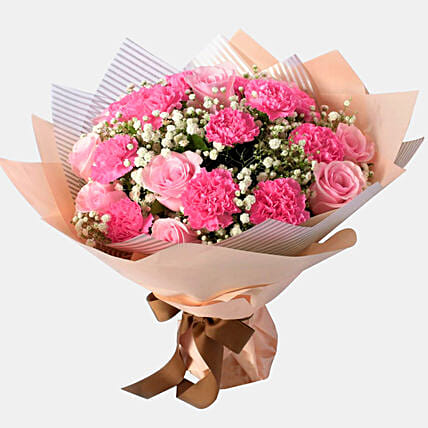 Pink Love Floral Bunch:Send Carnation Flower to Singapore