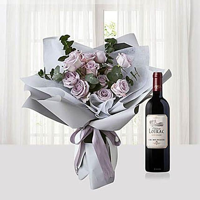 Purple Flowers Bouquet N Loriac Wine Combo