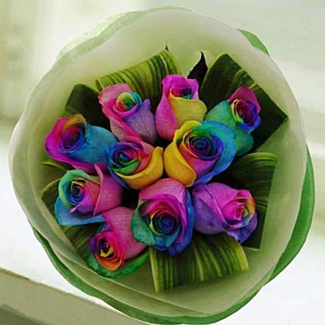 Rainbow Roses In Singapore Gift Rainbow Roses Ferns N Petals