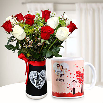 Ravishing Flowers with Personalised Mug