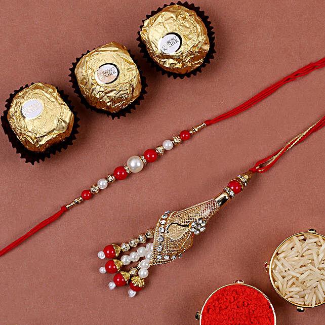 Red Fancy Bhaiya Bhabhi Rakhi And 3 Pcs Ferrero Rocher:Rakhi for Bhaiya Bhabhi in Singapore