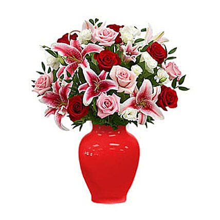 Red Rose and Lily Bouquet