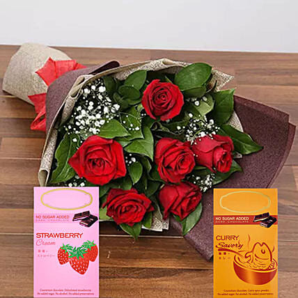 Red Roses And Flavourful Chocolates