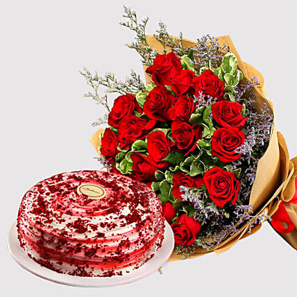 Red Roses and Red Velvet Cake Combo