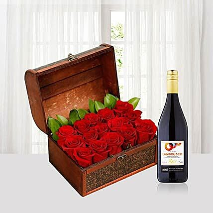 Red Roses N Red Wine Combo:Send Flower Bouquet to Singapore