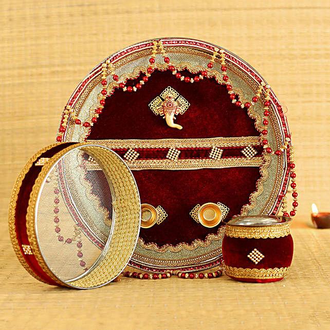 Royal Maroon Velvet Adorned Thali Set