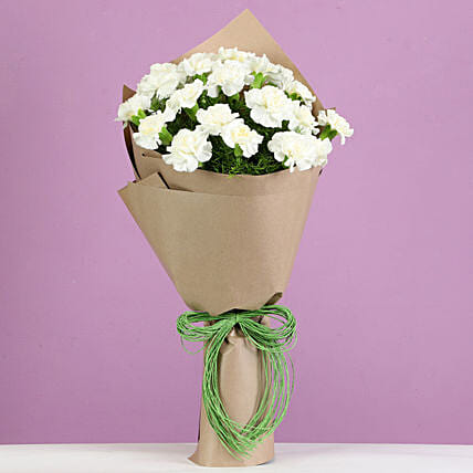 Serene White Carnations Bouquet