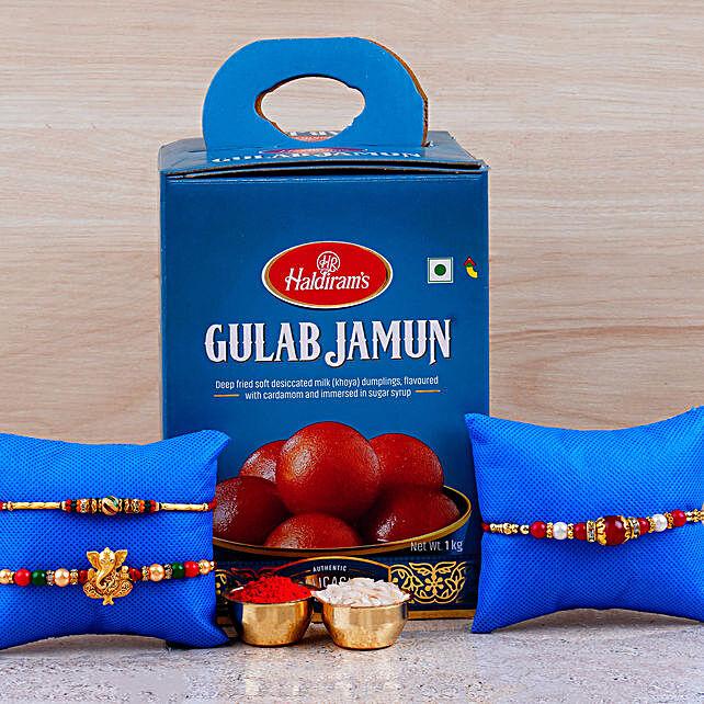 Set Of 3 Rakhis And Gulab Jamun Tin