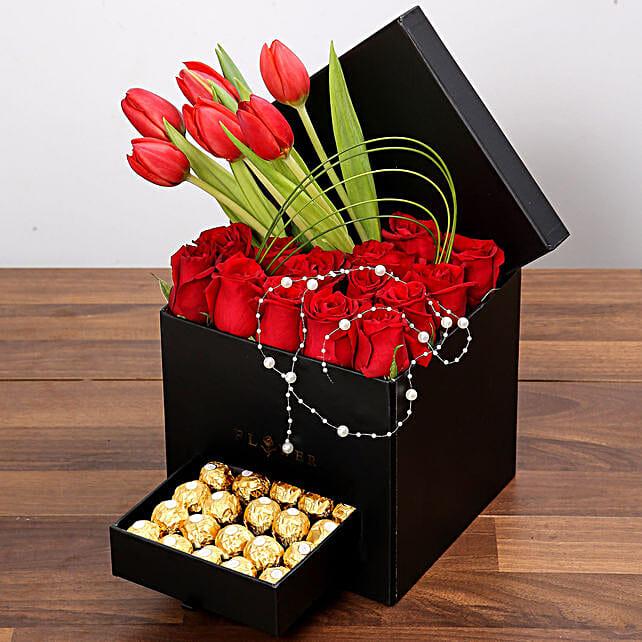 Stylish Box Of Red Flowers with Ferrero Chocolates