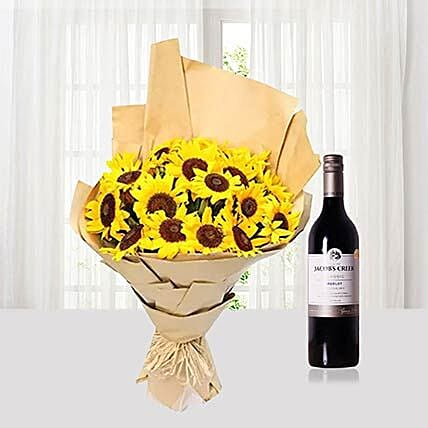 Sunflowers Bouquet With Jacobs Creek Wine