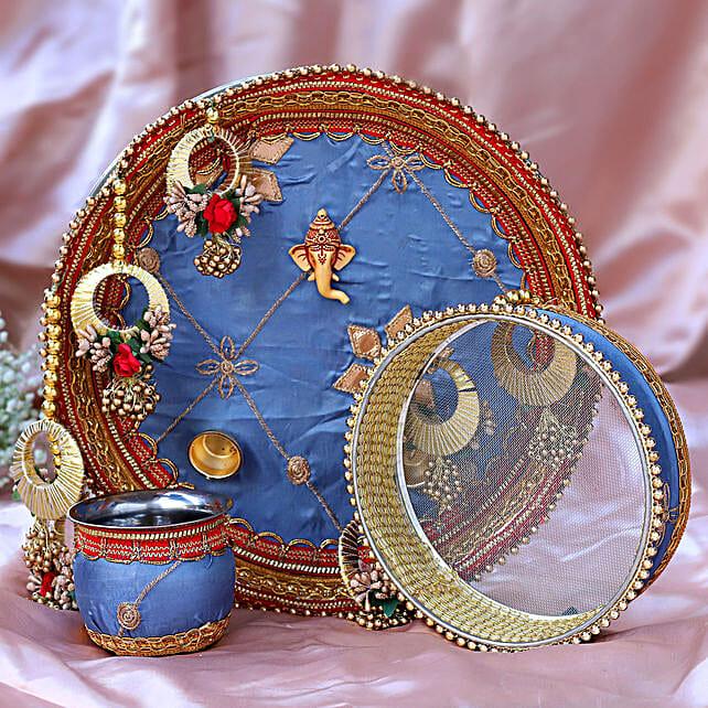 Thread Embroidery Grey Thali Set:Send Karwa Chauth Gifts to Singapore