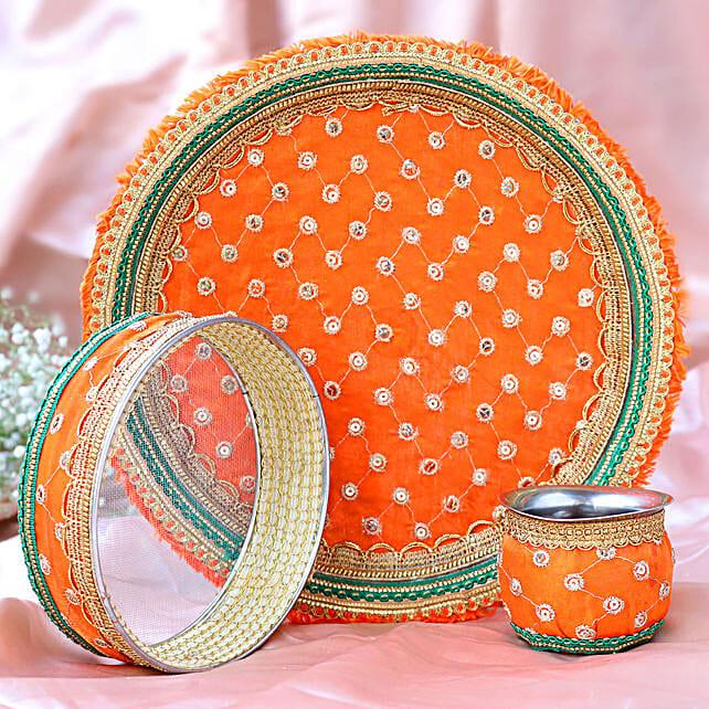 Thread Embroidery Orange Thali Set:Karwa Chauth Gifts Singapore