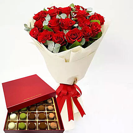 Timeless Red Roses And Sugar Free Truffles