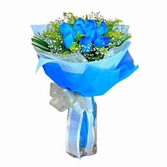 10 Blue Roses Hand Bouquet