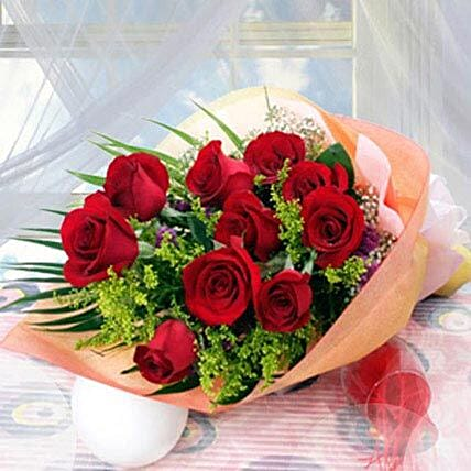 10 Long Stem Roses:Thanksgiving Gift Delivery in Singapore