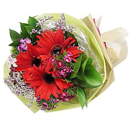 Red Gerbera Bouquet:Thanksgiving Gift Delivery in Singapore