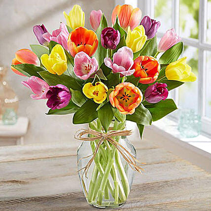 Colourful Tulips In Glass Vase:Flower Arrangements to Singapore