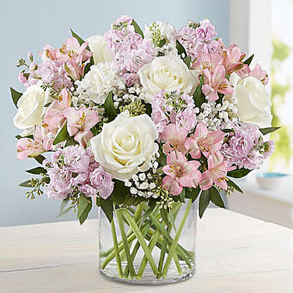 Pink And White Floral Bunch In Glass Vase In Singapore Gift Pink And White Floral Bunch In Glass Vase Ferns N Petals
