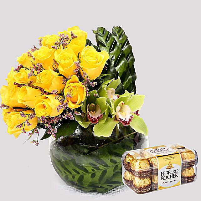 Ferrero Rocher Box and Yellow Rose Grace