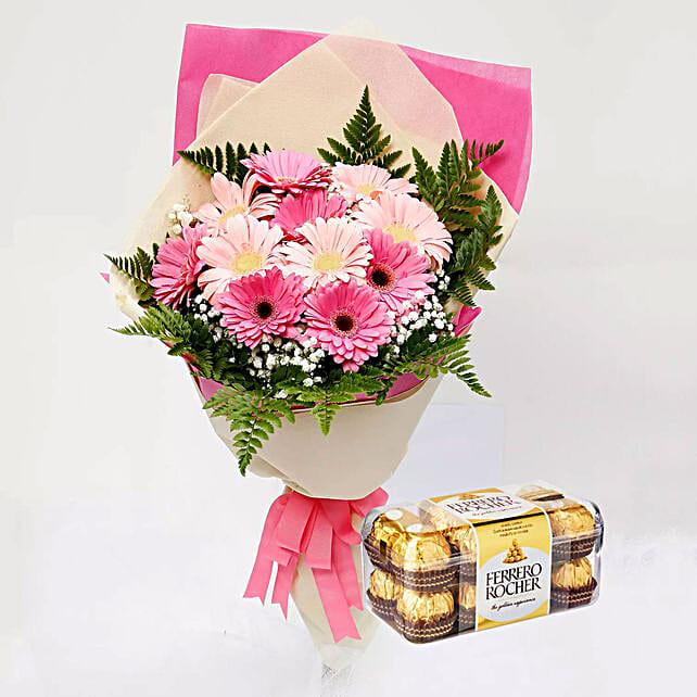 Ferrero Rocher Chocolates and Pink Gerbera Bouquet:Flowers N Chocolates to Singapore
