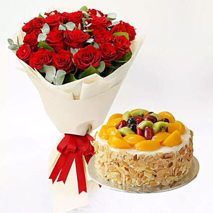 Fruit Cake and Red Rose Bouquet