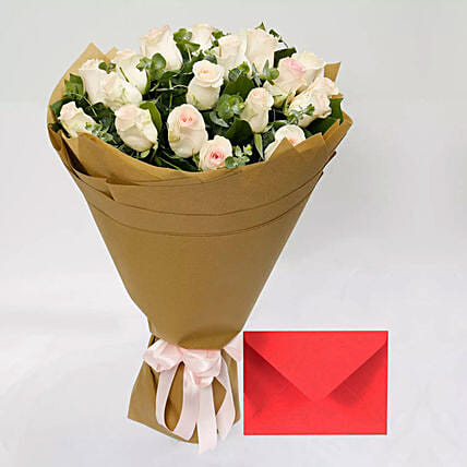 Greeting Card and Peach Rose Bouquet