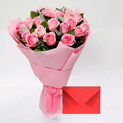 Greeting Card and Pink Rose Bouquet