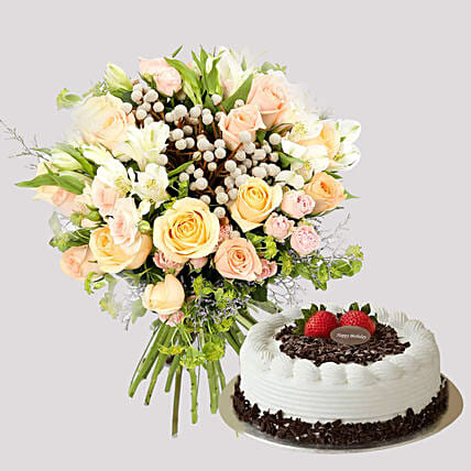 Pastel Floral Bunch and Black Forest Cake