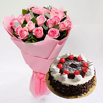 Black Forest Cake and Pink Rose Bouquet