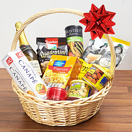 Sparkling Juice And Snacks Basket:Gift Baskets to Singapore