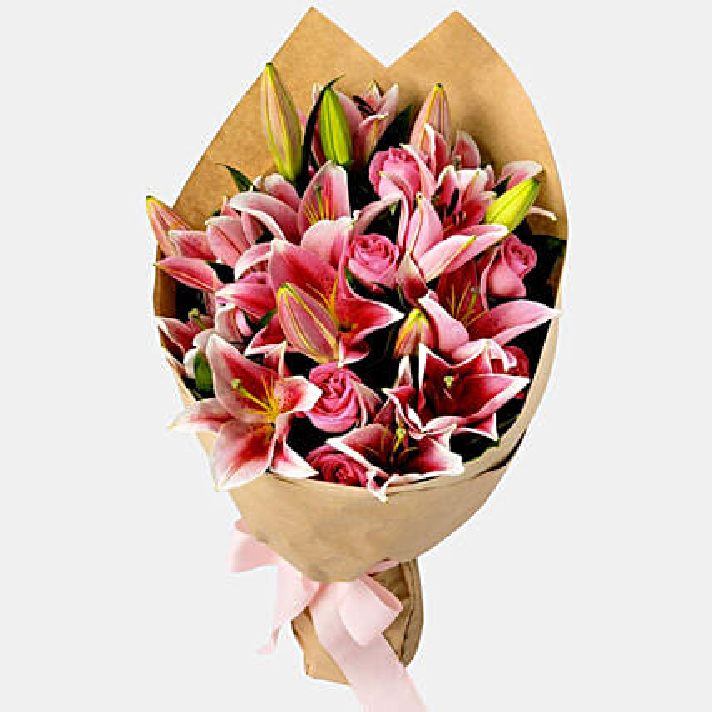 Pink Passion Lilies Bouquet