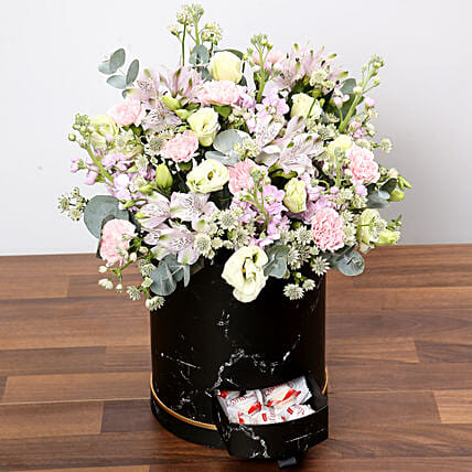 Pink and White Floral Box With Chocolates:Flowers and Chocolates Delivery in Singapore