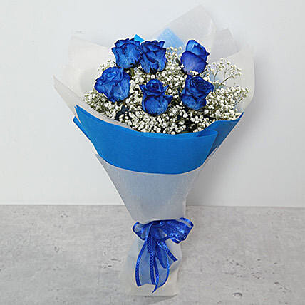 Bouquet Of Blue Roses In Singapore Gift Order Blue Roses Beautiful Bouquet In Dubai Ferns N Petals