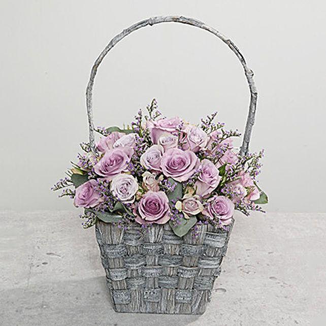 Fresh Purple Flowers Basket to Dubai