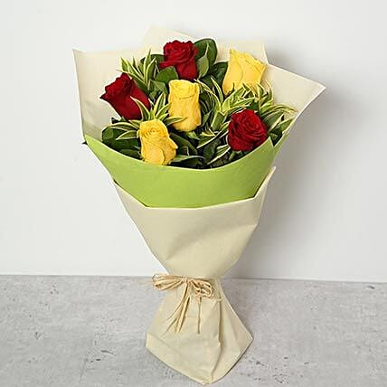 Flowers Bouquet of Red and Yellow Roses
