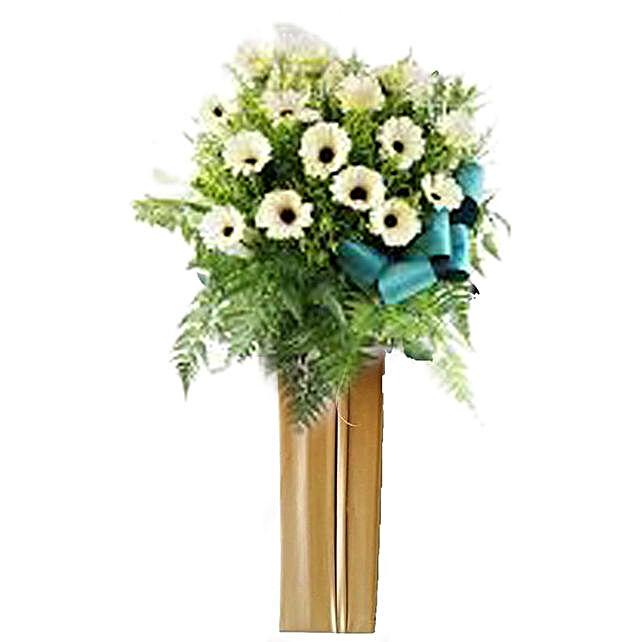White Gerberas Flower Stand