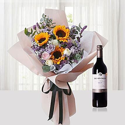 Mixed Flowers Bouquet N Wine Combo