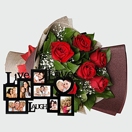 Roses Bouquet and Personalised Frame