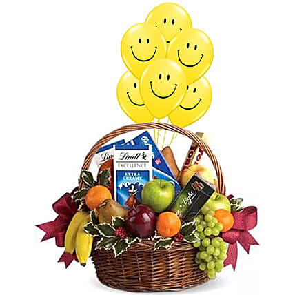 Fruitful Hamper With Smiley Balloons