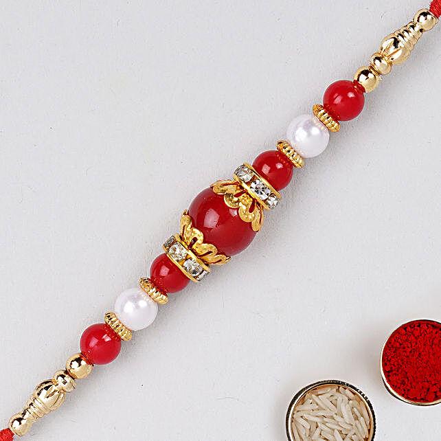 Red Pearl Beaded Rakhi