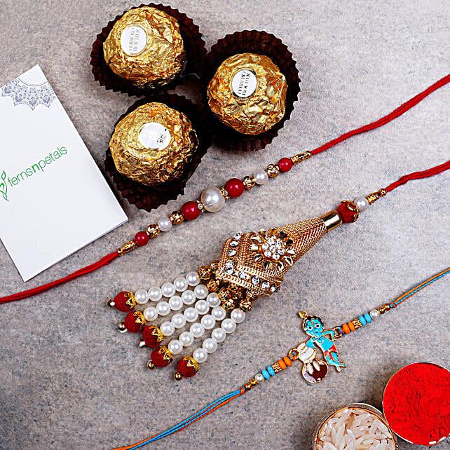 Family Set Of Rakhis And Ferrero Rocher 3 Pcs:Designer Rakhi to Singapore
