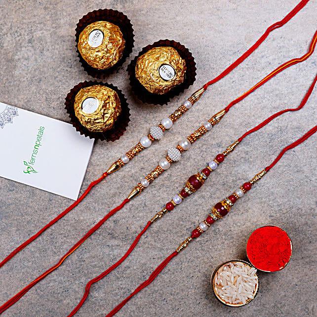 Four Pearl Thread Rakhis And Ferrero Rocher 3 Pcs