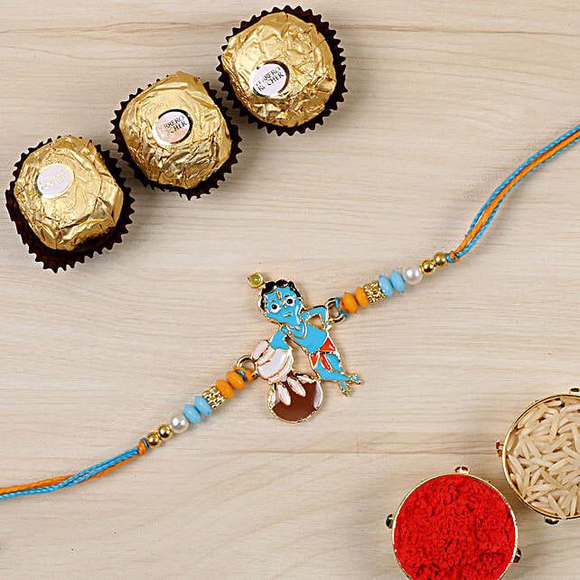 Adorable Bal Krishna Kids Rakhi And 3 Pcs Ferrero Rocher