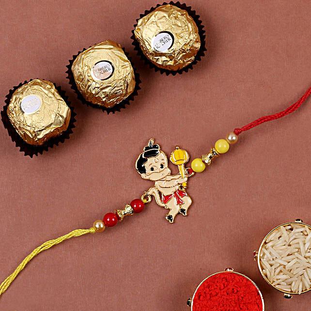 Metal Bal Hanuman Kids Rakhi And 3 Pcs Ferrero Rocher