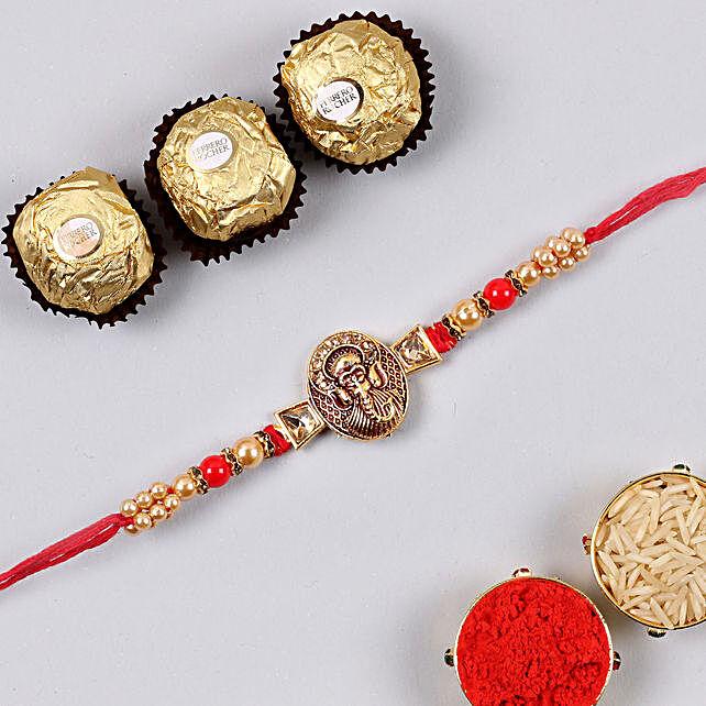 Mini Golden Ganesha Rakhi And 3 Pcs Ferrero Rocher