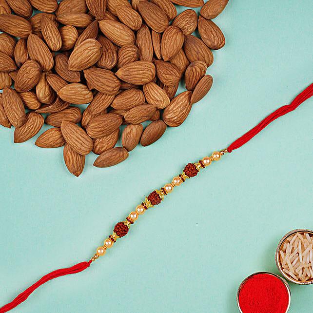 Rudraksha Regular Rakhi And Almonds Combo