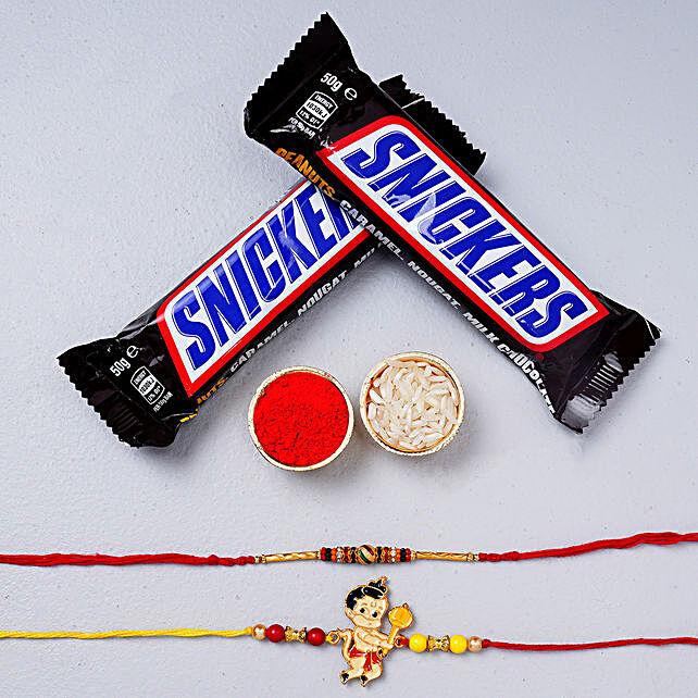 Beautiful Meena And Bal Hanuman Rakhi With Snickers