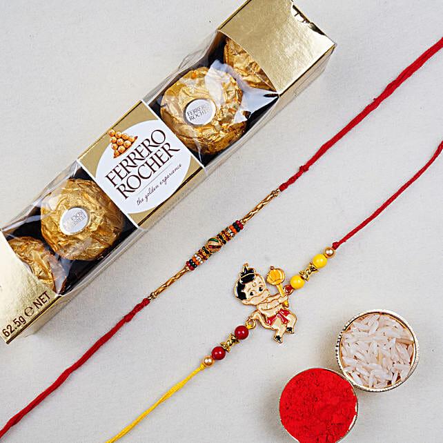 Om And Kids Rakhi With 5 Pcs Rochers:Designer Rakhi to Singapore