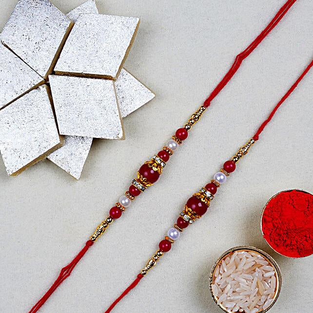 Red Pearl Thread Rakhi With Kaju Katli Box